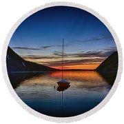 Sunset On Lake Willoughby Round Beach Towel by John Haldane