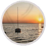Sunset On Lbi Round Beach Towel