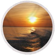 Round Beach Towel featuring the photograph Sunset On Long Island Sound by Karen Silvestri