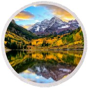 Sunset On Maroon Bells Round Beach Towel