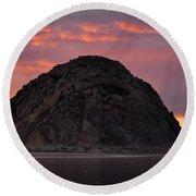 Sunset On Morro Rock Round Beach Towel