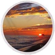 Sunset On Newport Beach Round Beach Towel