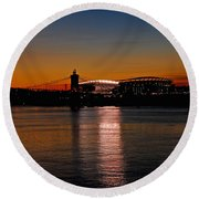 Round Beach Towel featuring the photograph Sunset On Paul Brown Stadium by Mary Carol Story