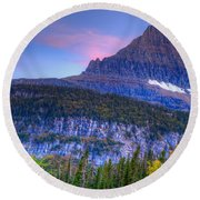 Sunset On Reynolds Mountain Round Beach Towel