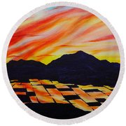 Round Beach Towel featuring the painting Sunset On Rice Fields by Michele Myers