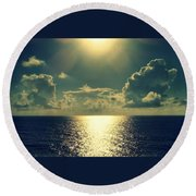 Sunset On The Atlantic Ocean Round Beach Towel