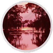 Round Beach Towel featuring the photograph Sunset On The Bayou Atchafalaya Basin Louisiana by Dave Welling