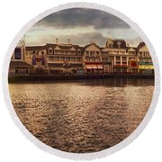 Sunset On The Boardwalk Walt Disney World Round Beach Towel