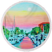 Round Beach Towel featuring the painting Sunset On The Canal by Deborah Boyd