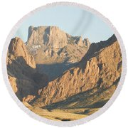 Sunset On The Chisos Mountains Round Beach Towel