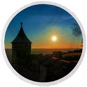Sunset On The Fortress Koenigstein Round Beach Towel