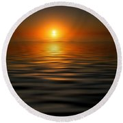 sunset on the Gulf Round Beach Towel