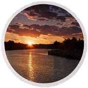 Round Beach Towel featuring the photograph Sunset On The River by Dave Files