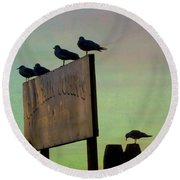 Sunset On The Sign Round Beach Towel