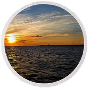Sunset On The Water In Provincetown Round Beach Towel by Eleanor Abramson