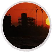 Sunset On Varadero Beach, Matanzas Round Beach Towel