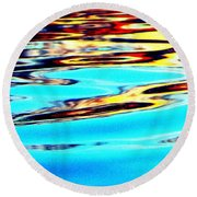 Sunset On Water Round Beach Towel by Faith Williams