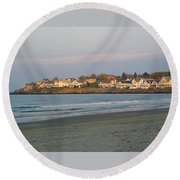 Sunset On York Beach Round Beach Towel
