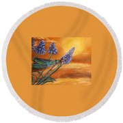 Summer Sunset Over A Dragonfly Round Beach Towel