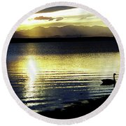 Sunset Over Aurora Round Beach Towel