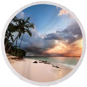 Sunset Over Bacardi Island Round Beach Towel by Mihai Andritoiu