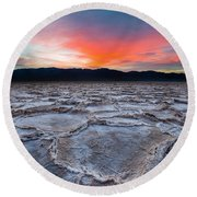 Sunset Over Badwater Round Beach Towel