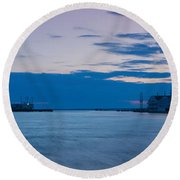 Sunset Over Chincoteague Inlet Round Beach Towel