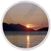 Sunset Over Cook Inlet Alaska Round Beach Towel by Denyse Duhaime