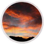 Sunset Over Estes Park Round Beach Towel