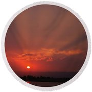 Sunset Over Hope Island 2 Round Beach Towel