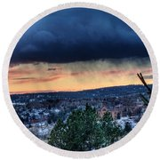 Sunset Over Hot Springs Round Beach Towel