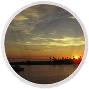 Sunset Over Jetty Point Round Beach Towel