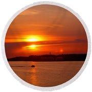 Sunset Over Lake Ozark Round Beach Towel