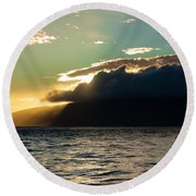 Sunset Over Lanai   Round Beach Towel