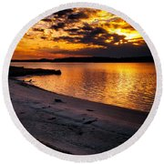 Sunset Over Little Assawoman Bay Round Beach Towel