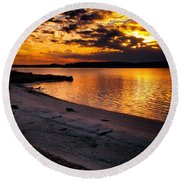 Sunset Over Little Assawoman Bay Round Beach Towel