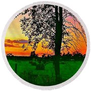 Round Beach Towel featuring the photograph Sunset Over M-33 by Daniel Thompson