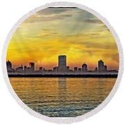 Sunset Over Milwaukee Round Beach Towel