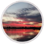Sunset Over Mission Bay  Round Beach Towel