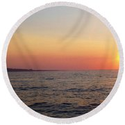 Sunset Over Montauk Round Beach Towel