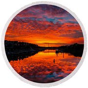 Sunset Over Morgan Creek - Wild Dunes Resort Round Beach Towel