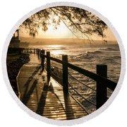Sunset Over Ocean Walkway Round Beach Towel