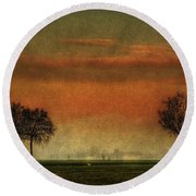 Sunset Over The Country Round Beach Towel