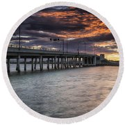 Sunset Over The Drawbridge Round Beach Towel by Fran Gallogly