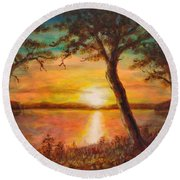 Sunset Over The Lake Round Beach Towel by Martin Capek