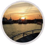 Round Beach Towel featuring the photograph Sunset Over The Marina by Ron Davidson