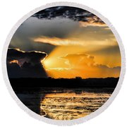 Sunset Over The Mead Wildlife Area Round Beach Towel