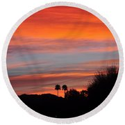 Sunset Over The Mountains Round Beach Towel