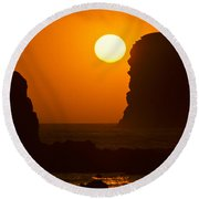 Sunset Over The Pacific Ocean With Rock Stacks Round Beach Towel by Jeff Goulden