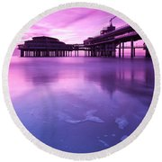 Sunset Over The Pier Round Beach Towel by Mihai Andritoiu